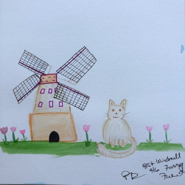 Windmill and furry friend with some tulips ! IMG_4570