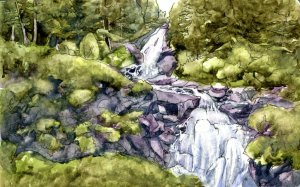 Krimml Waterfalls. Example done for my review of the Art Toolkit posted earlier today. Krimml Waterf