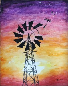 Prompt of the day: windmill #doodlewashApril2020 #WorldWatercolorGroup Screenshot_20200405-201416_Ga