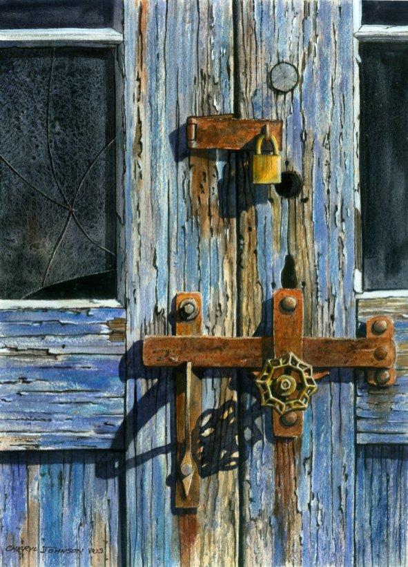 West Door Baltic Mills Rusted Door Watercolor Painting Cheryl Johnson