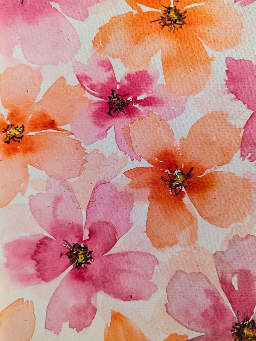 Watercolor Flowers Orange and Pink by Natalia Budihardjo