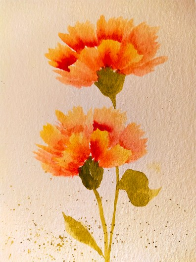 Orange Carnation Watercolor Painting Gnadia Art