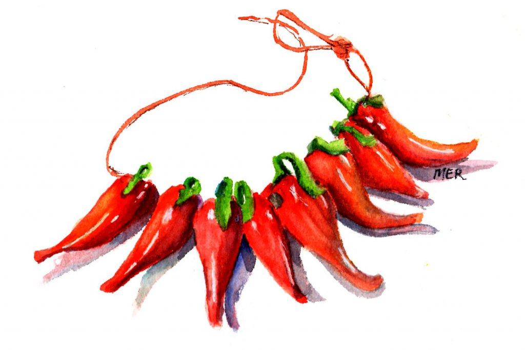 5/7/20 Red Pepper – these are part of a strand of glass beads that were a gift from a friend m