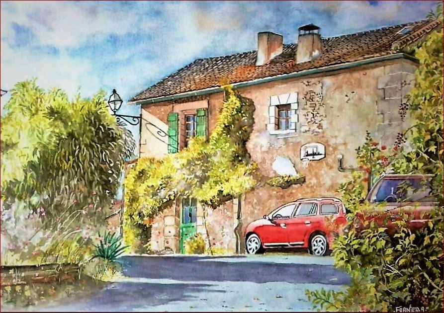 """""""Randonnée à Festalemps"""" petit village de mon Périgord, aquarelle 50 x 40 cm sur papi"""