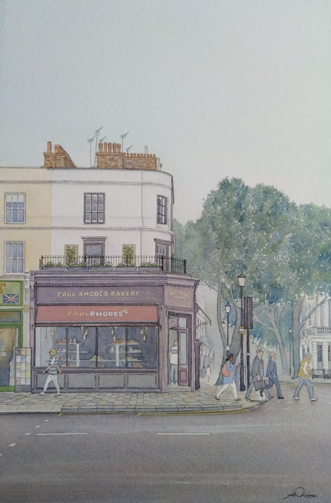 """ Bakers Corner "", Notting Hill Gate, London. Andrew Lucas Watercolour, 38 x 26 cm, I ho"