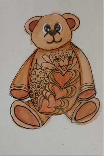 "I made this for a teddybear challenge: a ""kiss""bear who comes with kisses now that we ca"