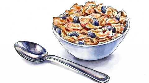 Raisin Bran Cereal Bowl And Spoon Watercolor Illustration
