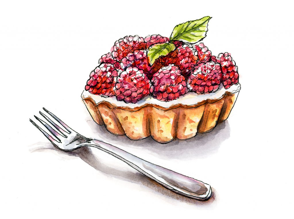 Raspberry Tart Watercolor Illustration