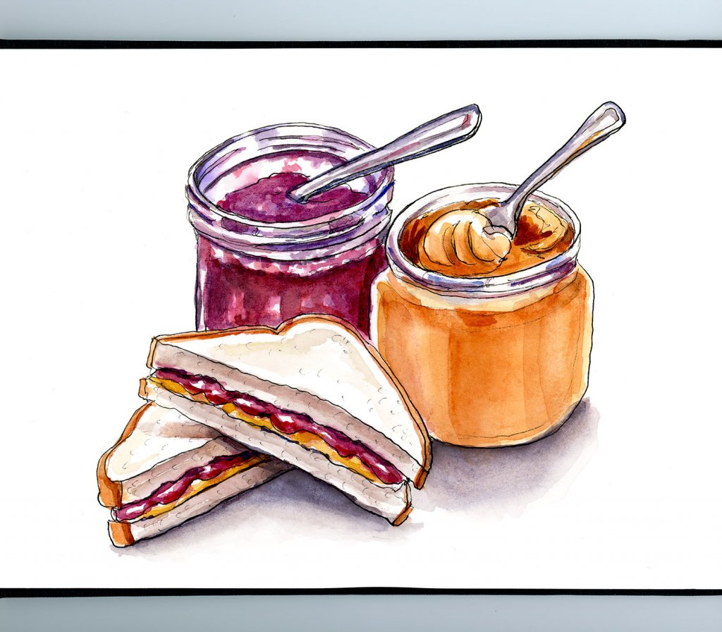 Peanut Butter And Jelly Sandwich Jars Watercolor Illustration