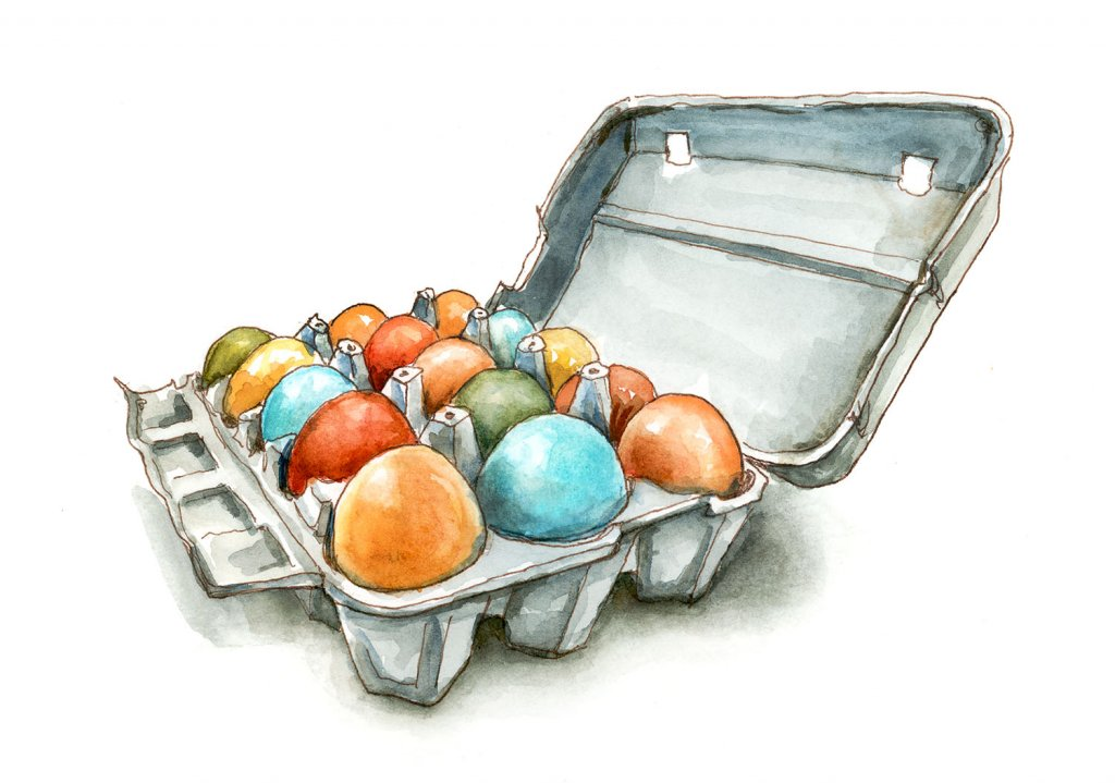 Farm Fresh Eggs Multiple Colors Watercolor Illustration
