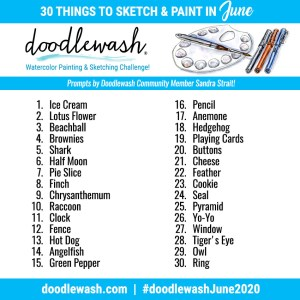 Doodlewash June 2020 Art Challenge Prompts