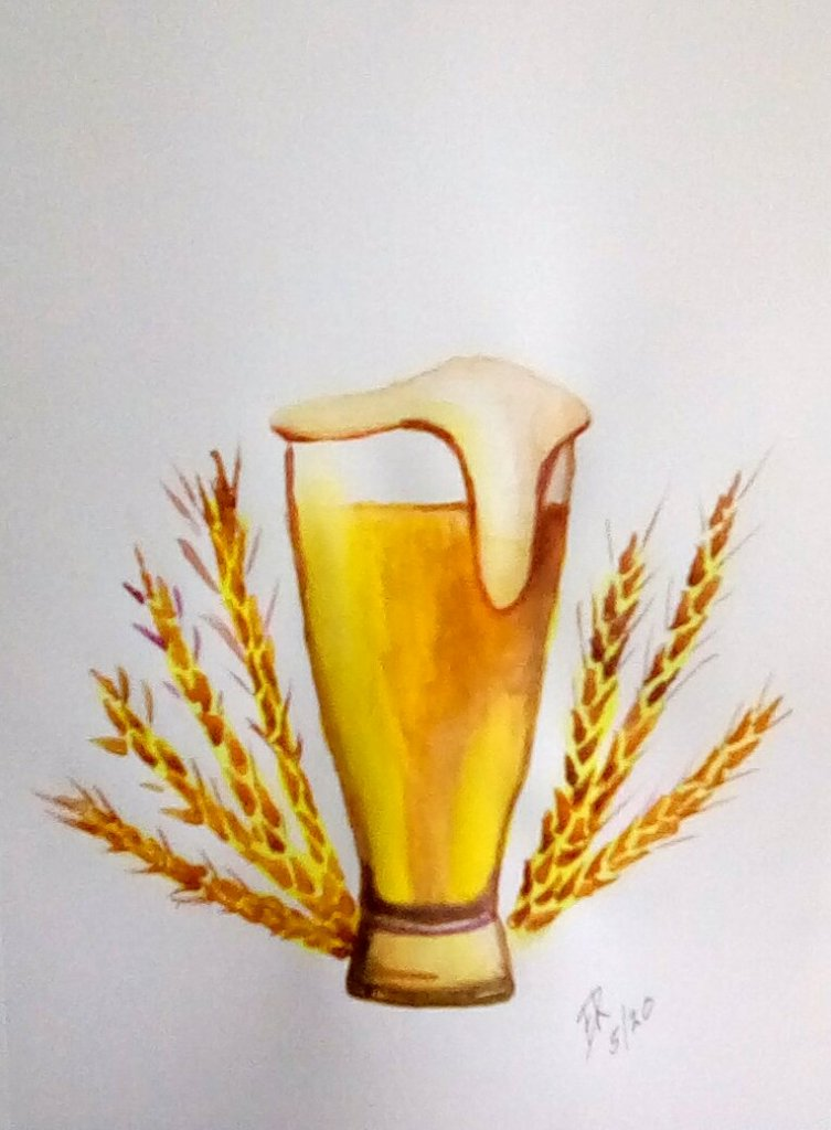 "Watercolor challenge for ""Wheat\"" wheat beer. IMG_20200523_165259_kindlephoto-123780241"