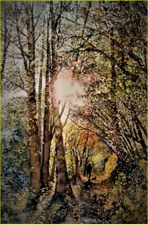 """"""" LA BALLADE D'ELLIOT"""" aquarelle 40 x 50 cm sur papier 300 g/ m² La balade d&#039"""