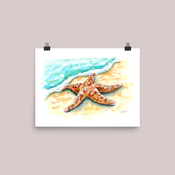 Starfish-On-Beach-Watercolor-Signed_Print 12x16