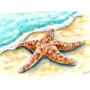 Starfish-On-Beach-Watercolor-Signed_Print Detail Image
