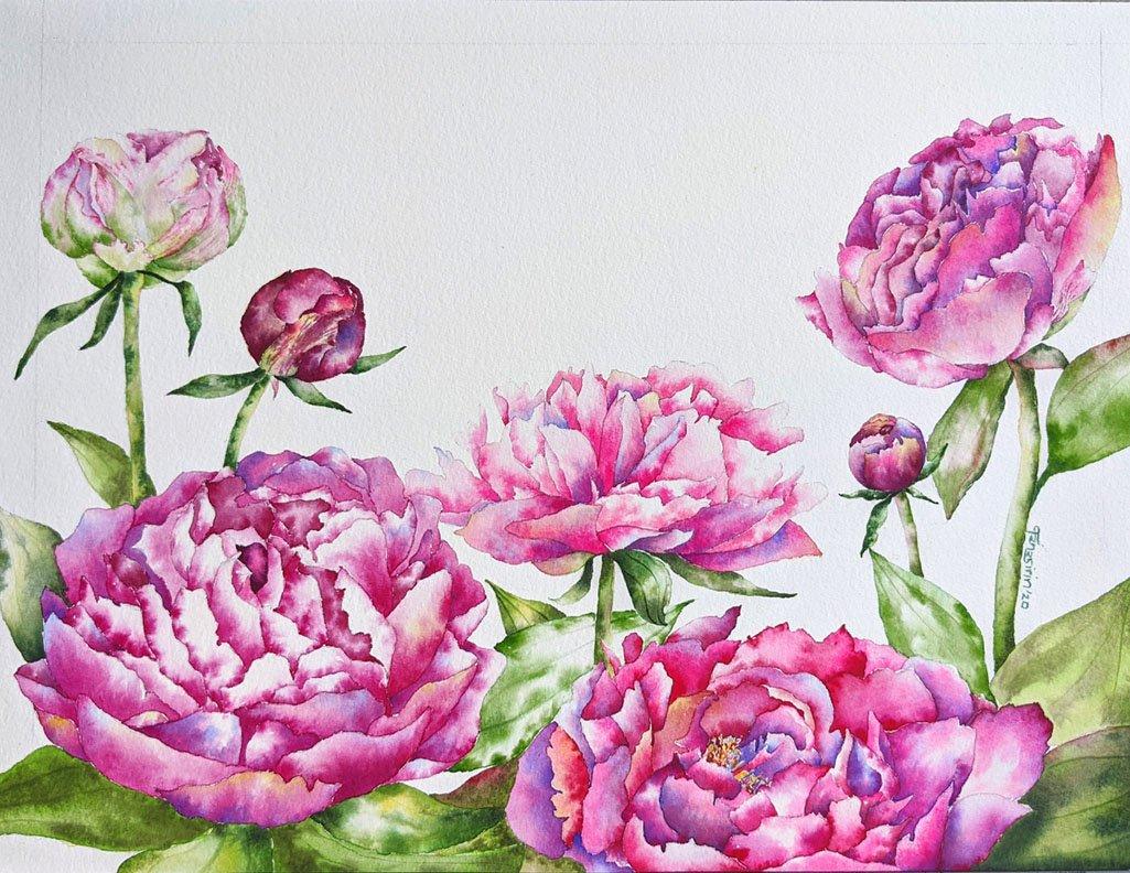 Deep Pink Flowers watercolor painting