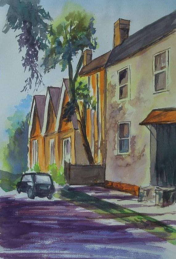 Watercolor Painting Houses Street Car by Manish Rajguru