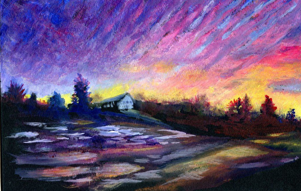 Stormy Sunrise and First Light. My two attempts from Melissa Gannon's fifth class. One with gouach