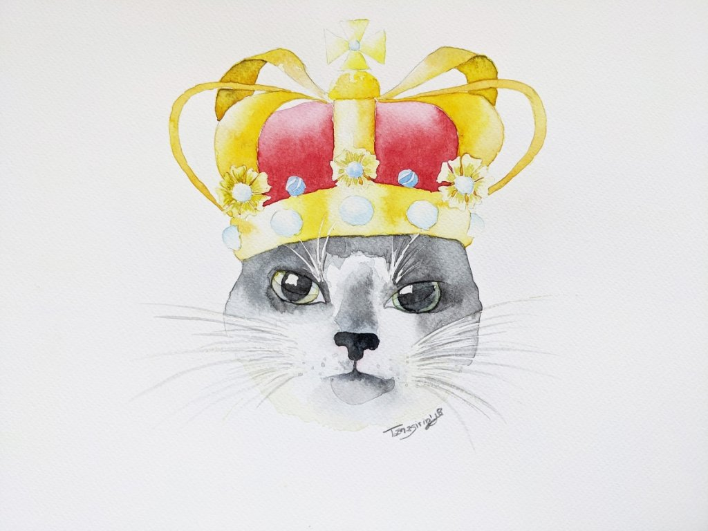 Cat Wearing A Crown Watercolor Painting