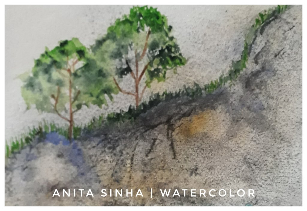 Watercolour landscape painting practice on rough texture watercolour sketchbook. #sketchingstuff #do
