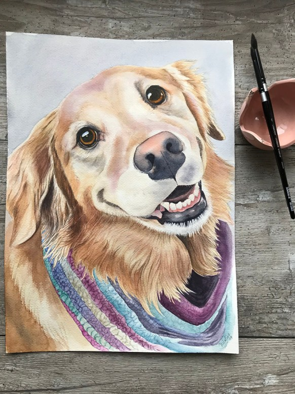 Art Therapy Painting Pet Portrait Completed watercolor painting