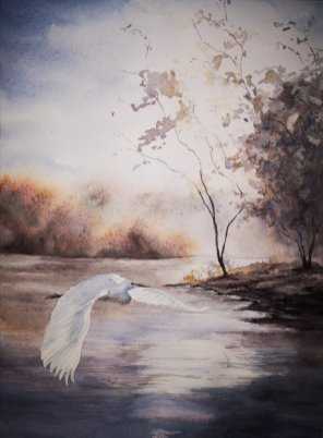 Bird Flying Over Water Watercolor Painting by Dagmar Olschewski