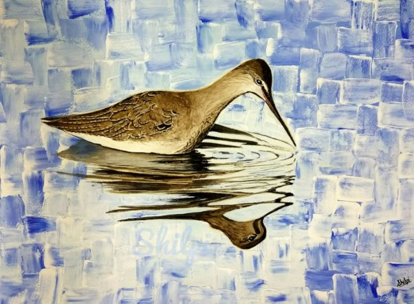 Bird Swimming Watercolor Painting