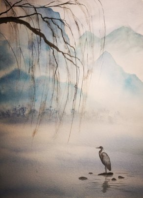 Bird and Water Watercolor