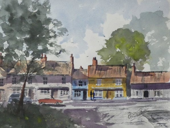 Burnham Market in Norfolk Watercolour Sketch by Brian Tucker