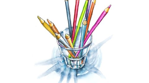 Colored Pencils In Glass Cup Watercolor Painting Illustration