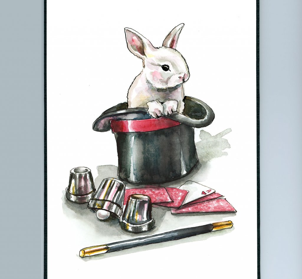 Magic Hat Trick Rabbit Cards Wand Cups Watercolor Painting Illustration Sketchbook Detail