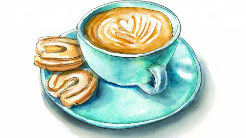 Cookies And Cappuccino Watercolor Painting Illustration