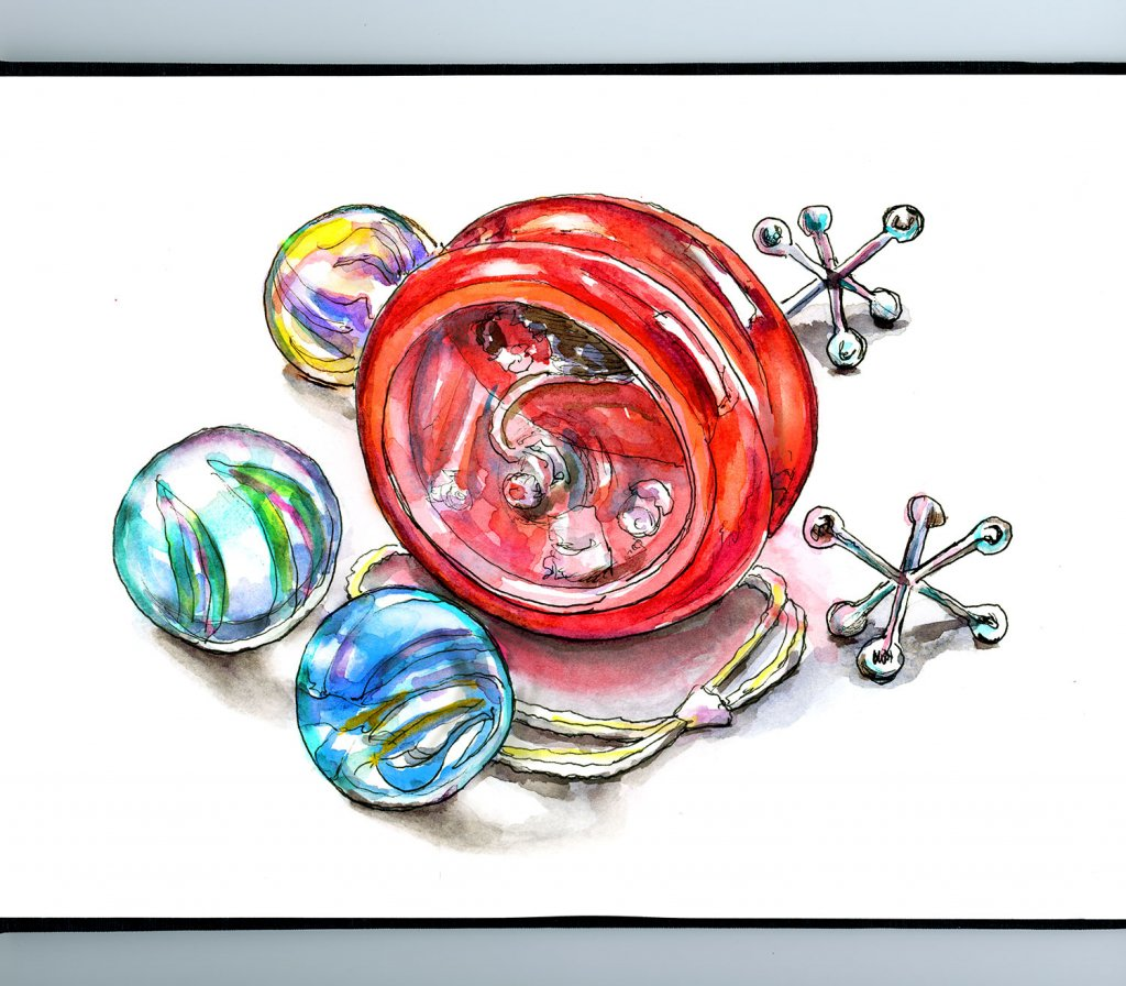 Marbles Yo-Yo Jacks Watercolor Painting Illustration Sketchbook Detail