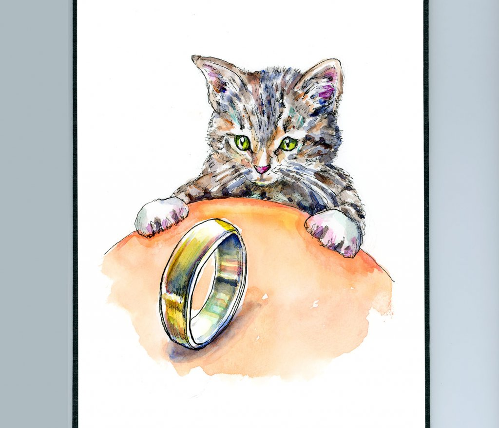 Kitten Cat Brass Ring Watercolor Painting Illustration Sketchbook Detail