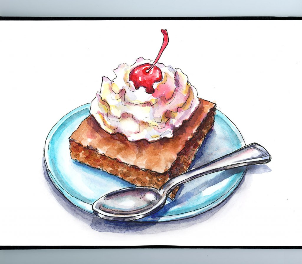 Brownie Whipped Cream Cherry Watercolor Illustration Sketchbook Detail