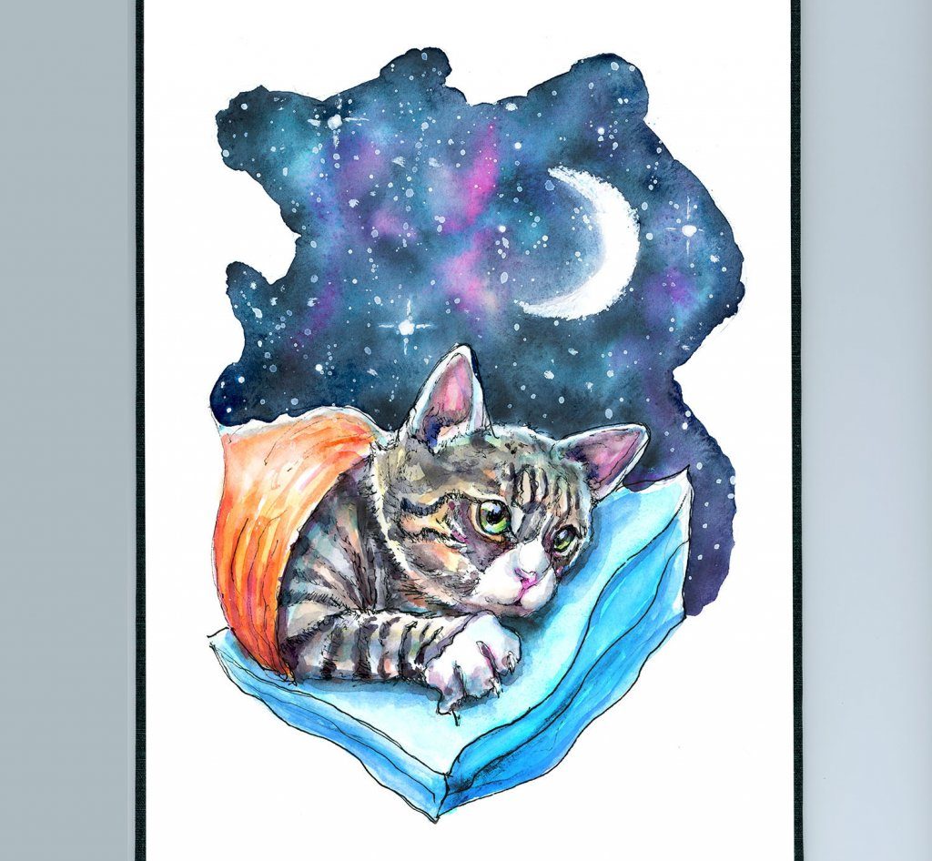Cat Kitten Moon Galaxy Watercolor Painting Illustration Sketchbook Detail