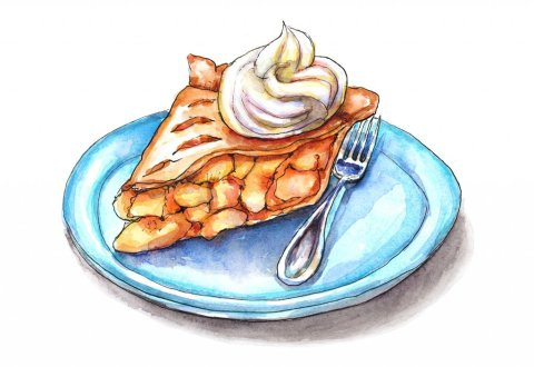 Peach Pie Slice Fork Plate Watercolor Painting Illustration