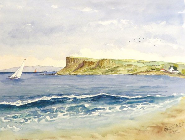 Fair Head in Northern ireland Ocean Landscape Sailboat Watercolour Painting by Brian Tucker