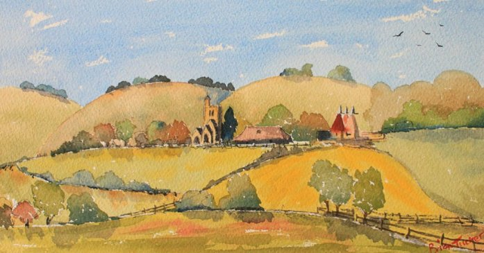 Horsmonden in Kent Watercolour Painting Brian Tucker