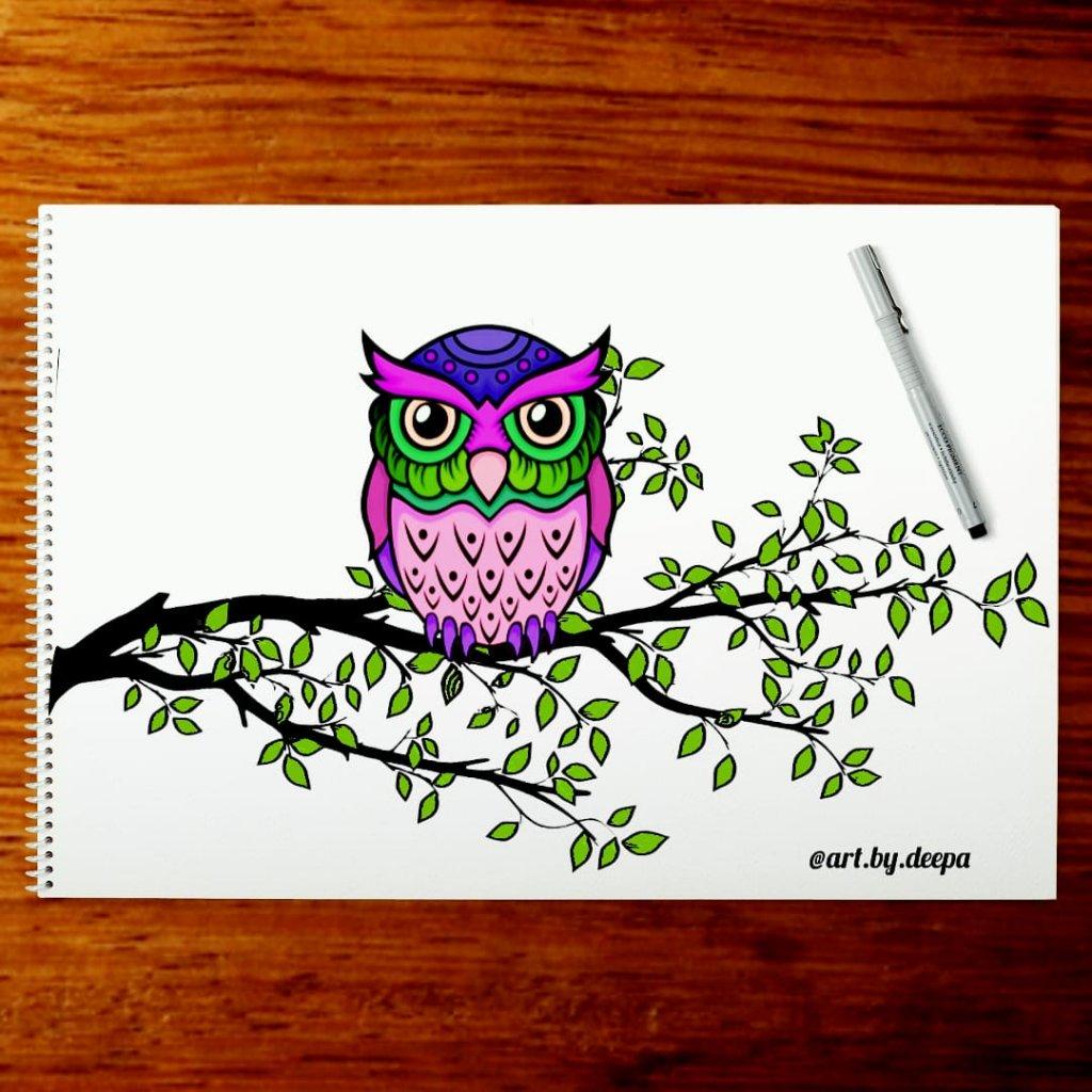 Day 29: Owl #doodlewashjune2020 IMG_20200629_222151_435