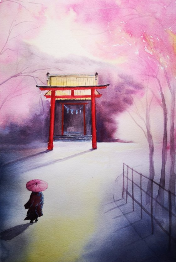 Japanese Arch Cherry Blossoms Watercolor Painting