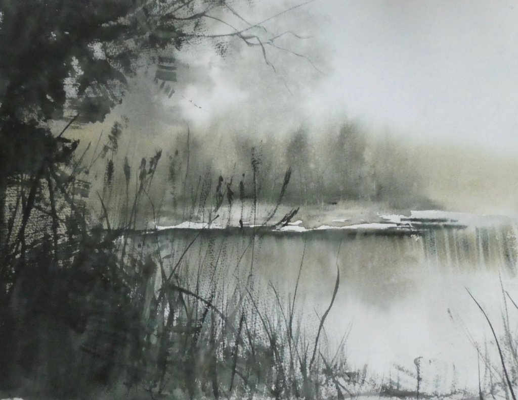 Misty Morning In Norfolk Watercolor by Brian Tucker