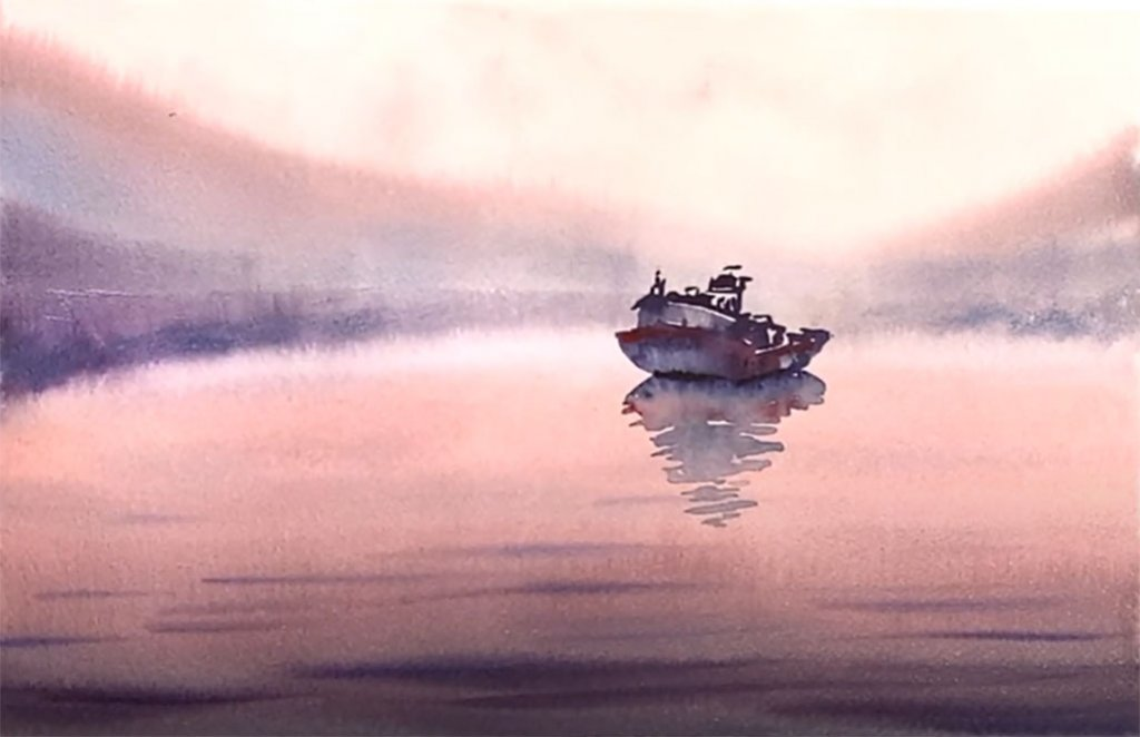 Monochromatic Watercolor Painting Example 2