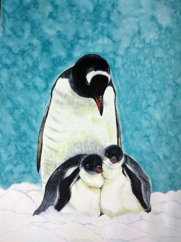 Penguins mother and baby watercolor painting by Shilpi Gupta
