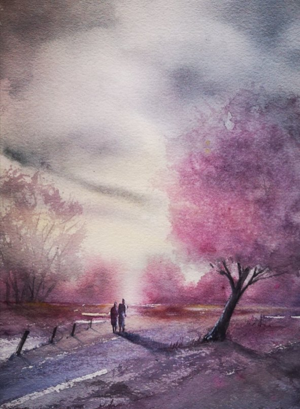 Pink Trees Landscape Shadows People Walking by Dagmar Olschewski
