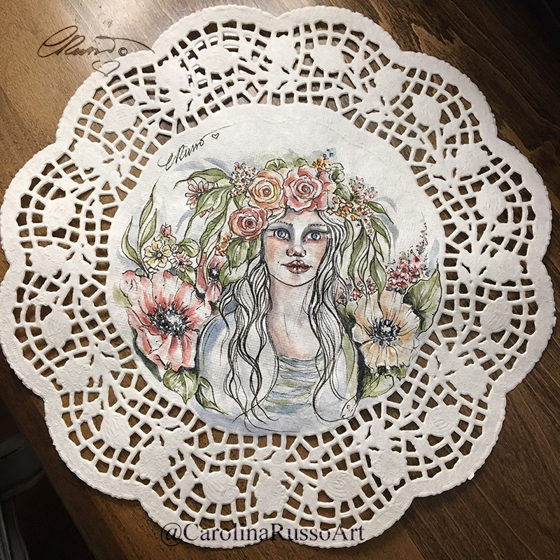 Queen Flower – Watercolor, ink on a 10″ paper doily Queen Flower_Sa