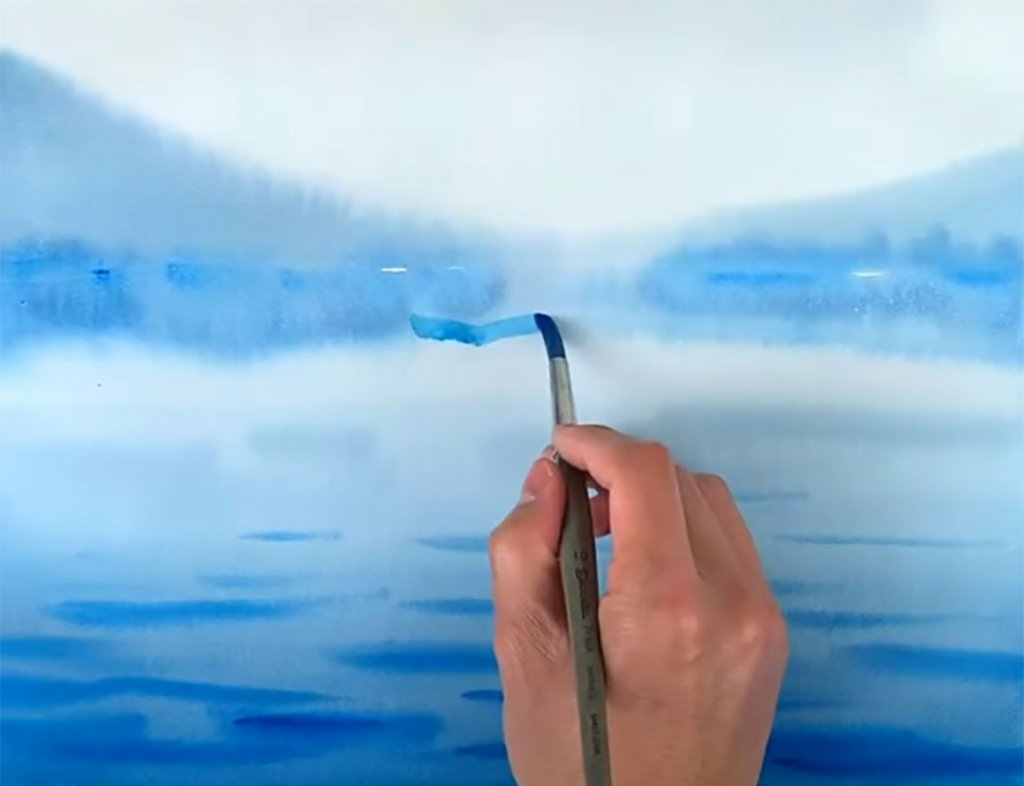 Step 8 How To Paint A Watercolor Landscape Watercolor Monochromatic Painting copy