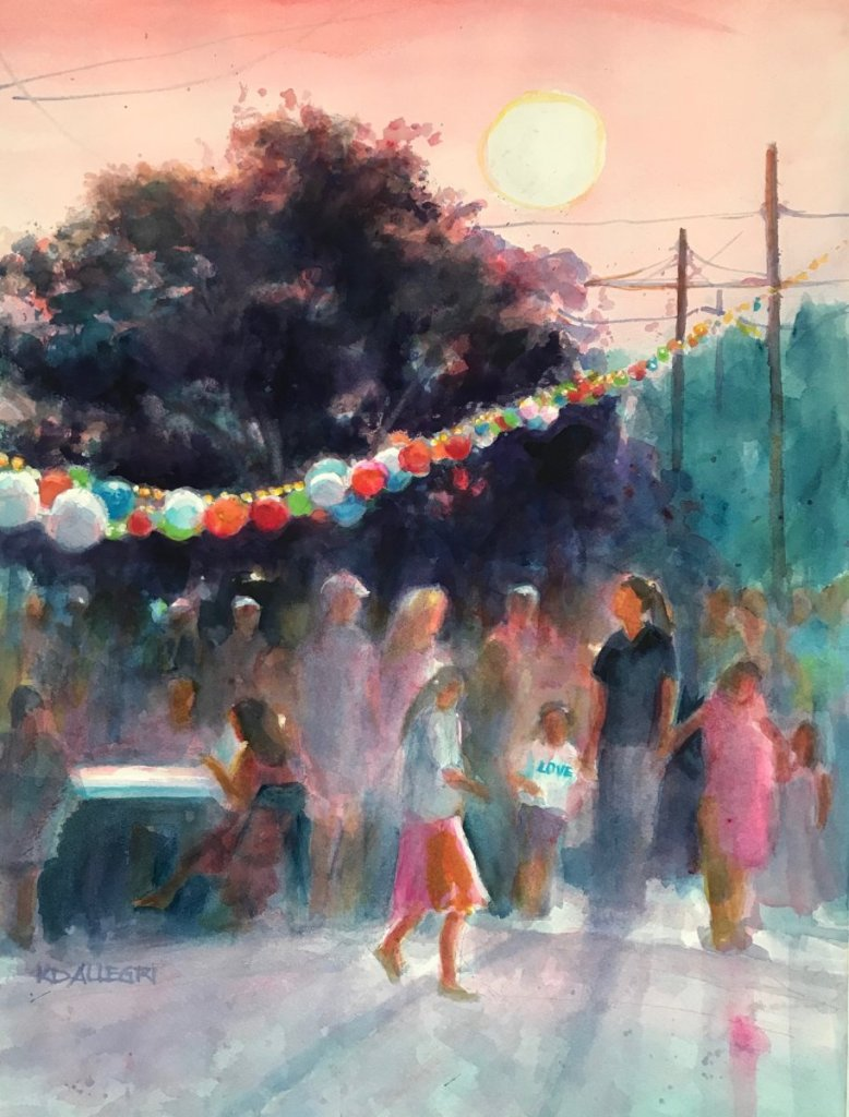 "I painted ""Summer Night Market"" from the photo I took when my family attended the first"