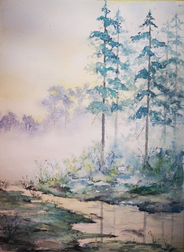 Trees And Mist Watercolor Painting by Dagmar Olschewski
