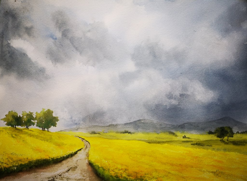 Watercolor Landscape Road and Stormy Sky